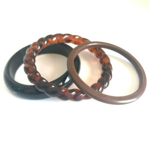 Bangle Hard Plastic Bracelets Brown Black